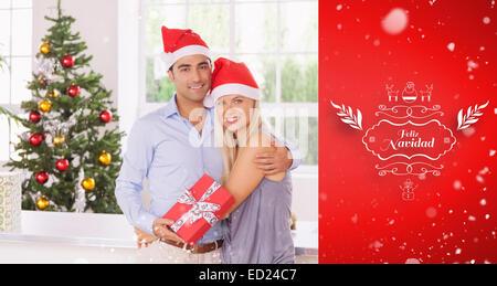 Libre de couple à Noël Banque D'Images