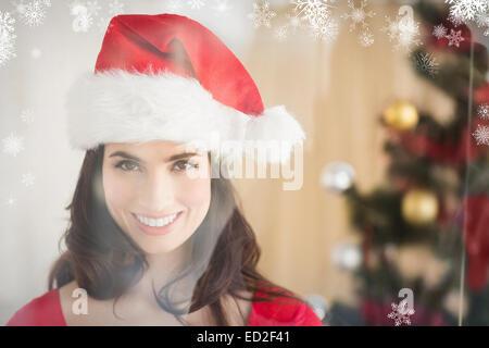 Fête de Noël à brunette posing Banque D'Images