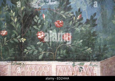 L'Italie. Rome. Villa de Livia. Le jardin peint, retiré de la salle à manger (triclinium) . 20-30 BC.