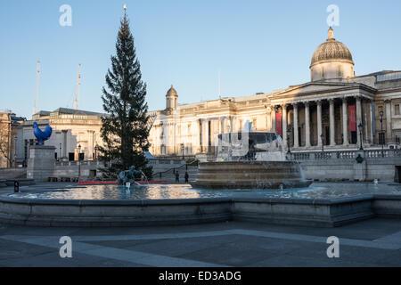 Londres, Royaume-Uni. Dec 25, 2014. Trafalgar Square à Londres le début de matin de Noël. Credit: Piero Cruciatti/Alamy Live News