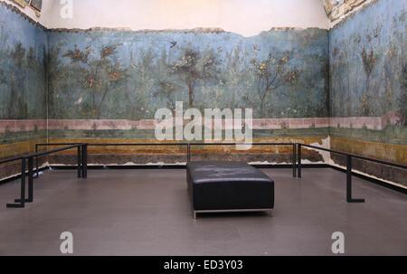 L'Italie. Rome. Villa de Livia. Le jardin peint, retiré de la salle à manger (triclinium) .30-20 BC.