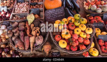 Légumes de saison dans divers contenants et paniers sur un étal pumpkins sale, tomates légumes racine Banque D'Images