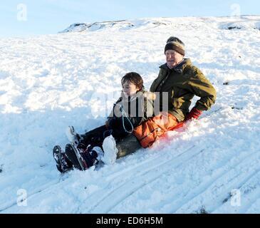 De style vieux couple de la luge avec leur petit-fils dans la neige. Banque D'Images