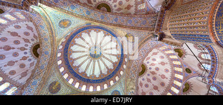 Orné ornate dômes de la Mosquée Bleue, Sultanahmet Camii ou Mosquée Sultan Ahmed à Istanbul, République de Turquie Banque D'Images