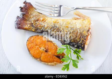 poisson frit Banque D'Images