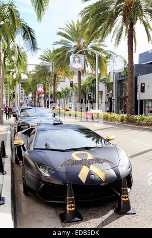 Décorées de Batman en stationnement sur Lamborghini Rodeo Drive, Beverly Hills, Los Angeles, Californie. Banque D'Images