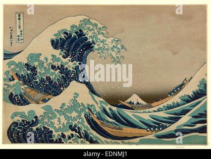 Kanagawa oki nami ura, la grande vague de Kanagawa de Hokusai Katsushika,,., 1760-1849, l'artiste, [entre 1826 et Banque D'Images