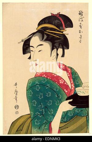 Naniwaya okita, Okita de Naniwa-ya., Kitagawa Utamaro, 1753?-1806, l'artiste, [1793], plus tard, imprimé 1 couleur Banque D'Images