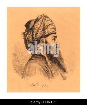 Le Baron Dominique Vivant Denon (Français, 1747 1825 ), Chef de profil Oriental de Turban, 1820, lithographie Banque D'Images
