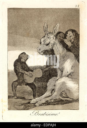 Francisco de Goya (Espagnol, 1746-1828). Brabisimo! (Bravo!), 1796-1797. De Los Caprichos, no. 38. L'eau-forte, Banque D'Images