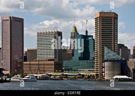 Baltimore, Maryland, Fells Point, port intérieur, world trade center, l'aquarium national de Baltimore, Banque D'Images