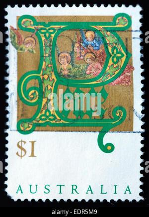 Utilisé et oblitérée Australie / Austrailian Stamp Noël paix $1