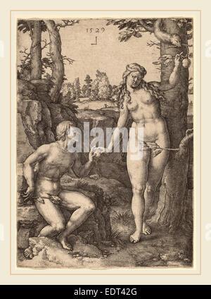 Lucas van Leyden (1489-1494, Russisch-1533), la chute de l'Homme, 1529, gravure Banque D'Images