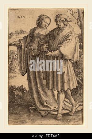 Lucas van Leyden (1489-1494-1533), Russisch, La Promenade, 1520, gravure Banque D'Images