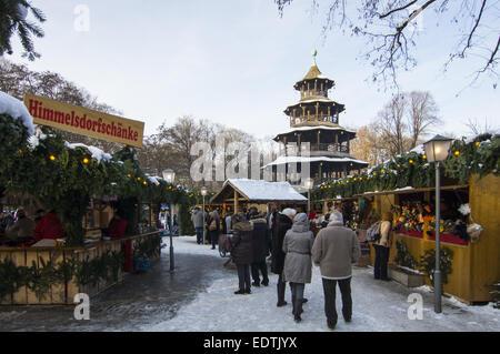 Weihnachtsmarkt im Garten Anglais, am Chinesischen Turm à München, Deuts, Oberbayern, Marché de Noël à la Chinese T