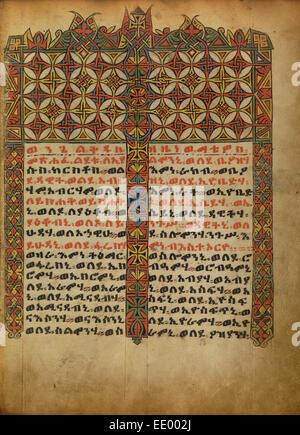 La page Incipit décorées; inconnu; l'Ethiopie, Afrique; environ 1480 - 1520 Tempera sur parchemin; Banque D'Images