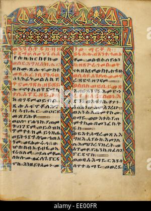 La page Incipit décorées; inconnu; l'Ethiopie, Afrique; environ 1504 - 1505 Tempera sur parchemin; Banque D'Images