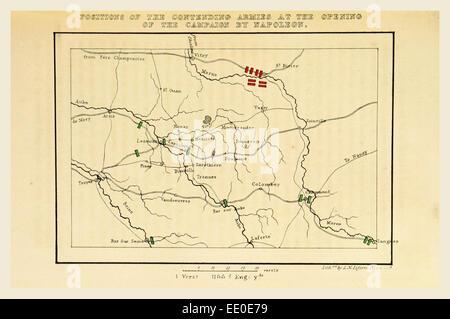 Campagne de 1814 en France (Napoléon et son personnel de retour de Soissons après la bataille de ...