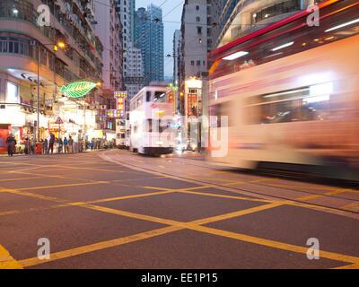 Hong Kong 2015 - de nuit l'éclairage de rue Banque D'Images