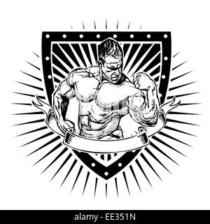 Illustration de bodybuilder shield Banque D'Images