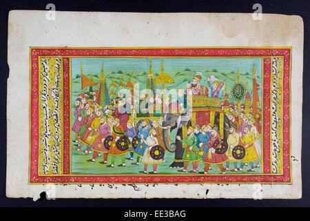 Peinture miniature du Rajasthan du Rajasthan, en Inde. Probablement fin du 19e siècle ou au début du xxe siècle. Banque D'Images