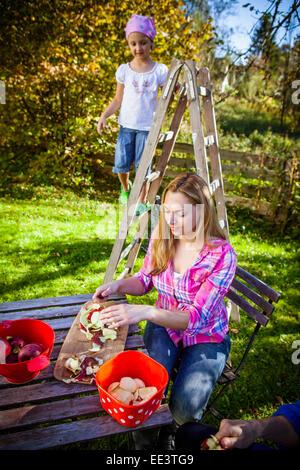 Woman peeling apples in jardin, Munich, Bavière, Allemagne Banque D'Images