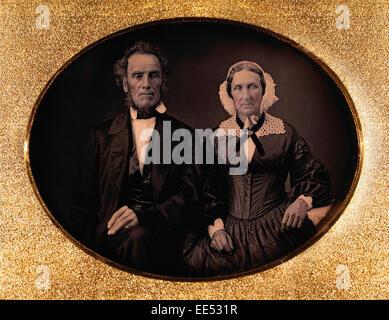 Couple de personnes âgées en tenue de ville, le Portrait, le daguerréotype, vers 1850 Banque D'Images