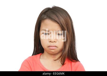Portrait d'un triste enfant pauvre avec une expression triste à pleurer Banque D'Images