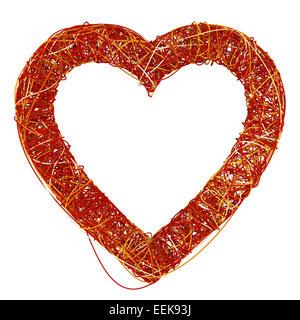 Big Red Cœur fait de fibre, isolé sur fond blanc, 3D Rende Banque D'Images