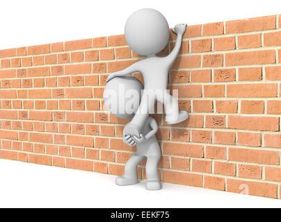 Le mec 3D character x2 escalade mur de briques. Banque D'Images