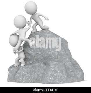 Le mec 3D character x3 l'ascension d'une montagne de roche. Banque D'Images
