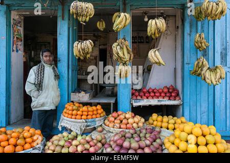 Stand de fruits, fruits vente, népalais, Patan, Népal Banque D'Images