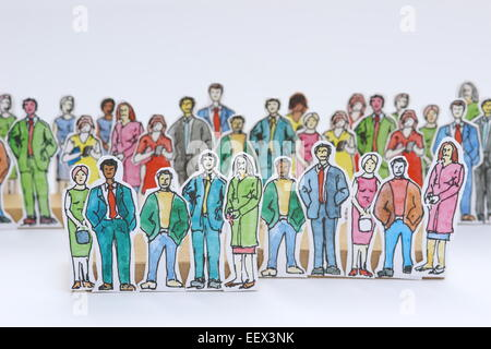 La foule des gens qui attendent la découpe carton ligne d'encre et aquarelle Banque D'Images