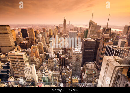 La ville de New York, USA sur les toits de Manhattan. Banque D'Images