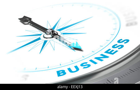 Boussole, l'aiguille dirigée vers le mot entreprise, tons blancs et bleus. Image de fond pour l'illustration de Banque D'Images