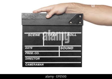 Homme main tenant la production de film clapper board isolé sur fond blanc Banque D'Images