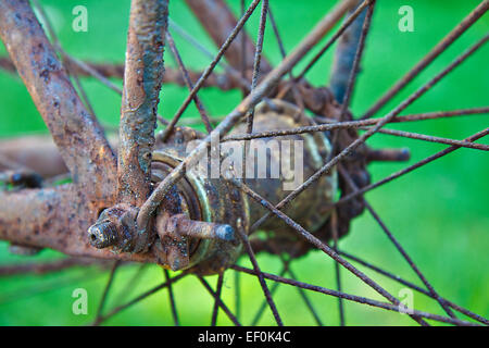 Détail d'un vieux vélo rouillé,.