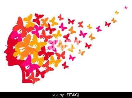 Femme avec papillons volant Banque D'Images