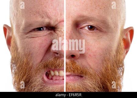 En colère et triste visage isolé Banque D'Images