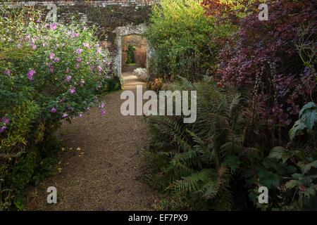 Un large chemin de gravier mène à une arche en pierre, bordée par les frontières herbacées, à la fin octobre, Rousham Banque D'Images