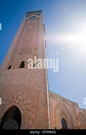 Tour de la Mosquée Hassan II à Casablanca Banque D'Images