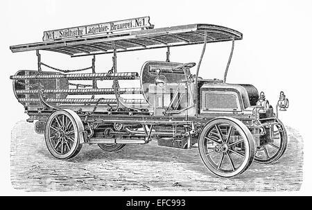 Vintage chariot avec 8 HP, moteur quatre cylindres réalisés par Daimler Motors Company au début du xxe siècle Banque D'Images