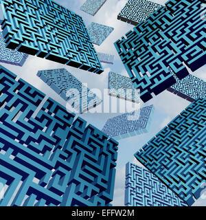 Confusion labyrinthe concept comme un groupe de trois dimensions pièces labyrinthe flottant dans le ciel comme une Banque D'Images