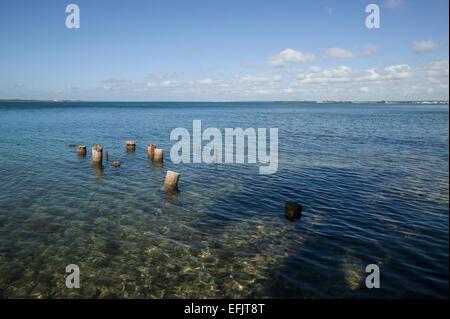 Vieux pylônes dans les eaux bleues de la baie de Cienfuegos, Punta Gorda, Cienfuegos, Cuba. Banque D'Images