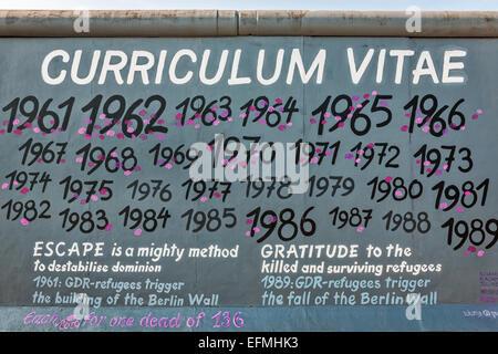 Curriculum Vitae murale by Kunjappu-Jellinek sur les vestiges du Mur de Berlin, Berlin, Germany, Europe Banque D'Images
