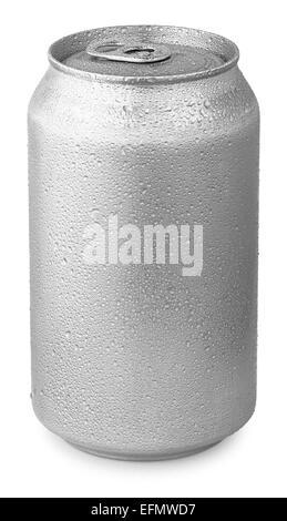 L'aluminium peut avec de l'eau gouttes isolated on white Banque D'Images