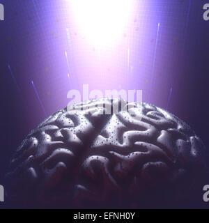 Metal brain avec des gouttelettes de pluie dans un environnement sombre. Copie espace et chemin de détourage inclus. Banque D'Images