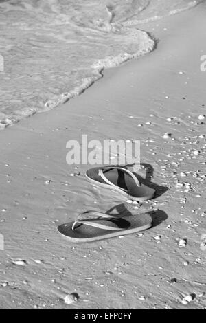 Tongs sur la plage de Floride Banque D'Images