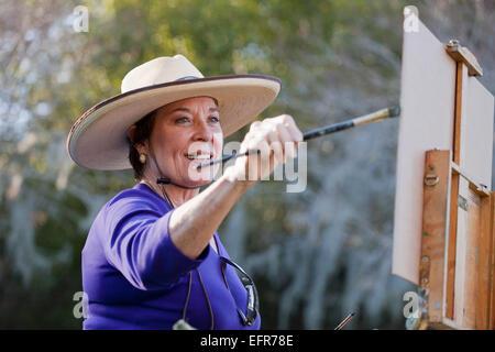 Femme plein-air en peinture peintre Albin Polasek Museum and Sculpture Garden, Winter Park, Floride, USA Banque D'Images