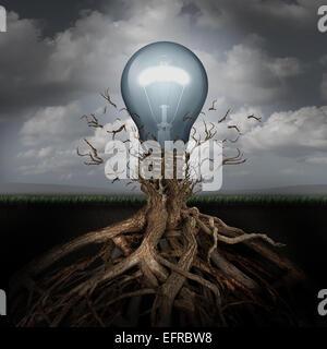 Concept de la créativité et de la montée des idées comme une ampoule émergeant à partir de racines souterraines Banque D'Images